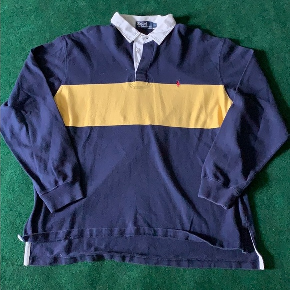Clothing, Shoes & Accessories Shirts Vintage Polo Ralph Lauren Striped Long Sleeve Polo Rugby Blue White Medium Traveling